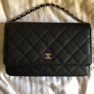 Chanel black caviar leather w/ shiny silver HW